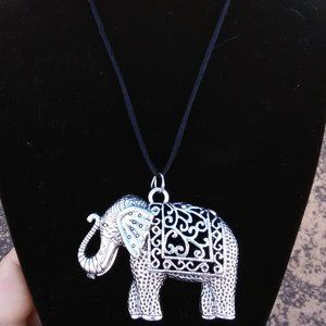 Silver Indian Elephant Necklace